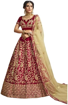 MANVAA  Women Silk Semistiched Embroidered Maroon Lehenga Choli