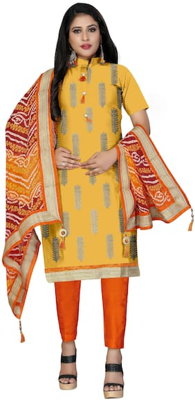 Manvaa Women Yellow Embroidered Cotton Dress Material