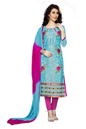 Manvaa Women Blue Straight Embroidered Cotton Dress Material