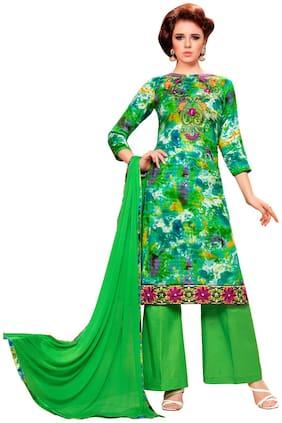 Manvaa Women Green A Line Embroidered Cotton Dress Material