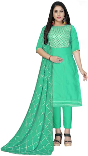 Manvaa Women Green Lace Work Cotton Dress Material