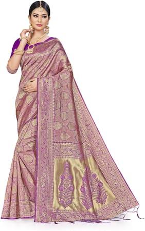 MANVAA Women Silk Woven SareePurple