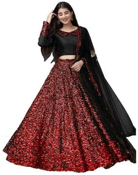 Manvaa Women Black Velvet Embellished Lehenga Choli