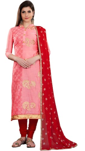Manvaa Women Pink Embroidered Cotton Dress Material