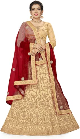 Manvaa Women Beige Silk Embroidered Lehenga Choli