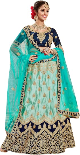 MANVAA  Women Silk Semistiched Embroidered Blue Lehenga Choli