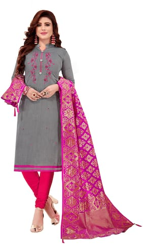 Manvaa Women Grey Embroidered Cotton Dress Material