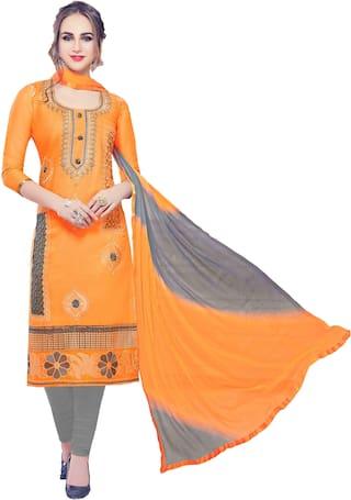 Manvaa Women Orange Embroidered Cotton Dress Material