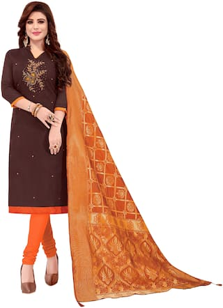 Manvaa Women Brown Embroidered Cotton Dress Material
