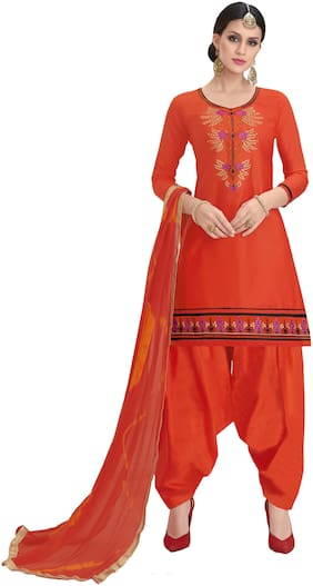 Manvaa Women Orange Patiyala Embroidered Cotton Dress Material