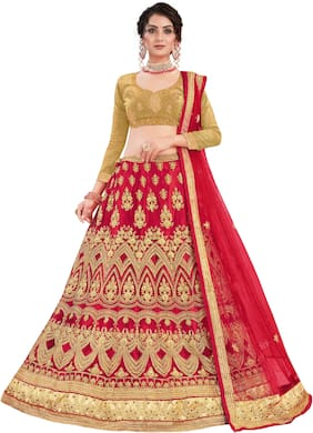 Manvaa Women Net Semi Stitched Lehenga Choli (Red;Gold)