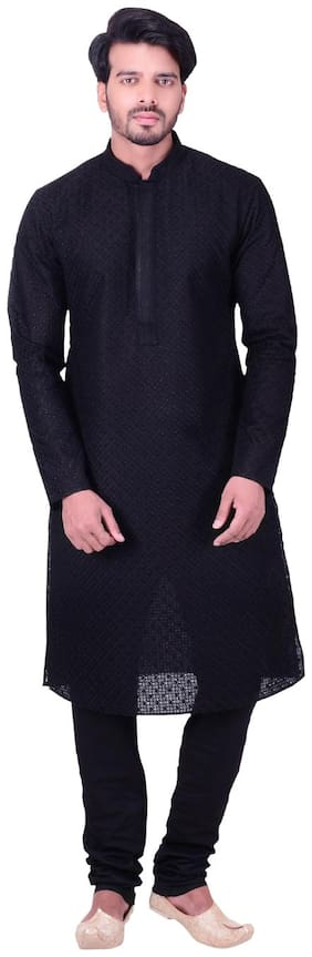 Manyavar Black Kurta Set
