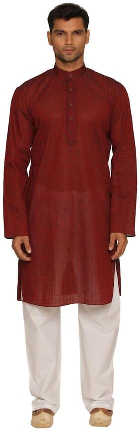 Manyavar Cotton Red Self Design Men's Kurta and Pyjama