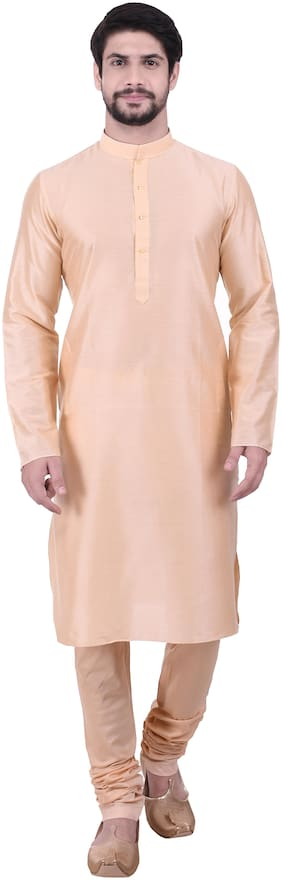 Manyavar Men Beige Full Sleeve Solid Kurta Paired with Churidar
