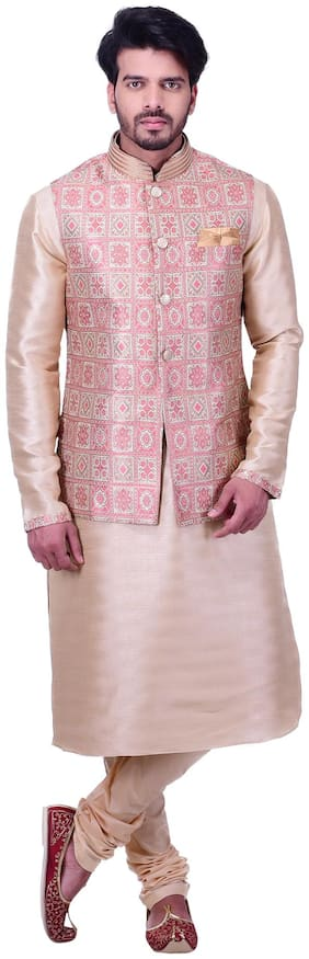 Manyavar Men Beige Full Sleeve Kurta Paired with Churidar & Waistcoat