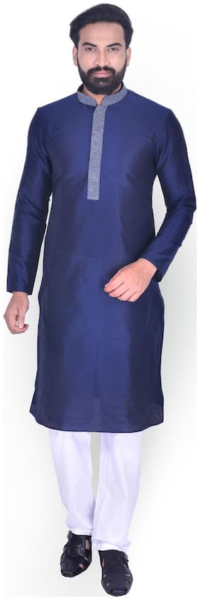 Manyavar Men Blue Full Sleeve Solid Kurta Paired with Pyjama