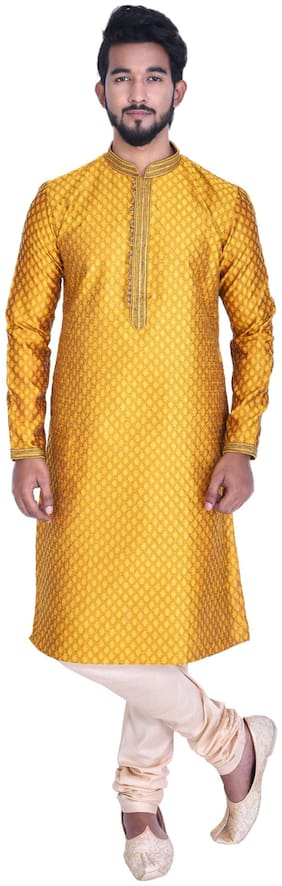 Manyavar Men Yellow Full Sleeve Kurta Paired with Churidar