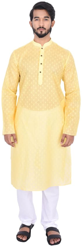 Manyavar Men Yellow Full Sleeve Kurta Paired with Pyjama