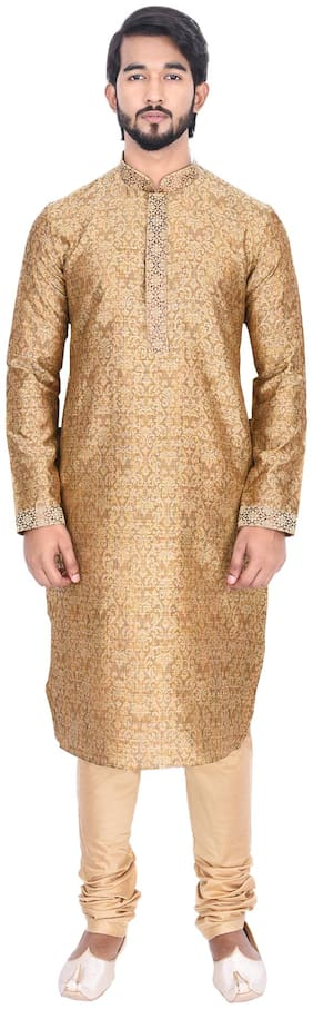 Manyavar Men Brown Full Sleeve Kurta Paired with Churidar