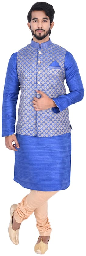 Manyavar Men Blue Full Sleeve Kurta Paired with Churidar & Nehru Jacket