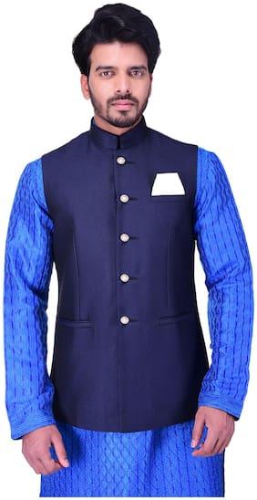 Manyavar Men Blue Solid Regular Fit Ethnic Jacket