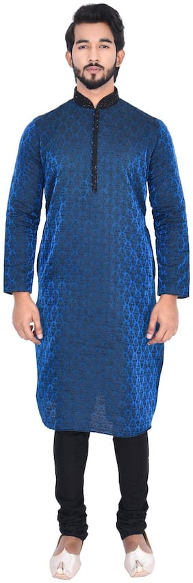 Manyavar Men Blue Full Sleeve Kurta Paired with Churidar