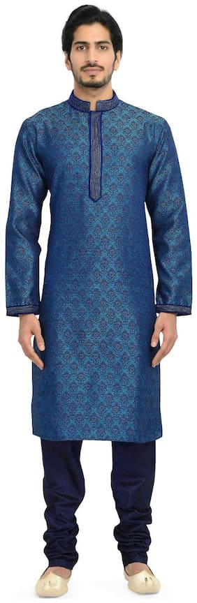 Manyavar Royal Blue Brocade Kurta & Churidar