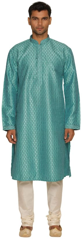 Manyavar Self Design Green Kurta and White Pyjama