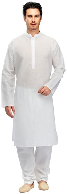 Manyavar White Textured Kurta & Pyjama Set