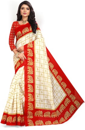 Marabout Bhagalpuri silk saree With Blouse pcs Red;Beige