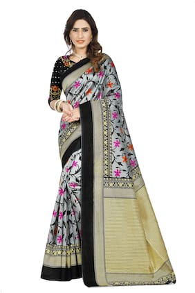 Marabout Blended Mysore Saree With Blouse Black color