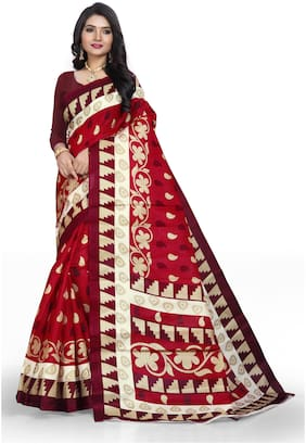 Marabout Blended Bhagalpuri Saree With Blouse Maroon color