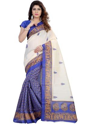 Marabout Multicolour Bhagalpuri Silk Saree With Blouse piece
