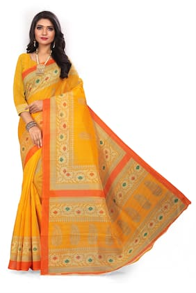 Marabout Synthetic Geometric Yellow Regular Saree  For Women