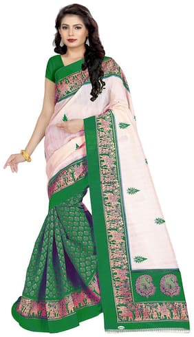 Marabout Women Synthetic Daily Wear Saree With Blouse Piece (Green)
