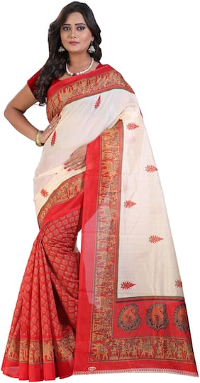 Marabout Women Synthetic Daily Wear Saree With Blouse Piece (Red;White)