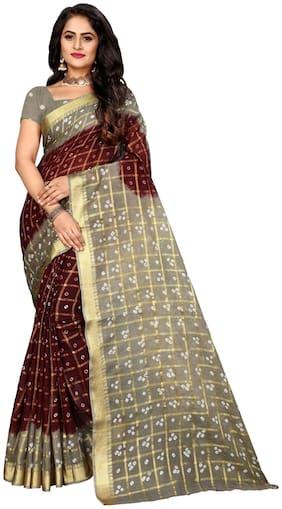 Marabout Women Bandhani Silk saree with blouse pcs Grey;Maroon