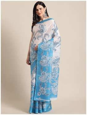 Marabout Women Silk Daily Wear Saree (Blue)