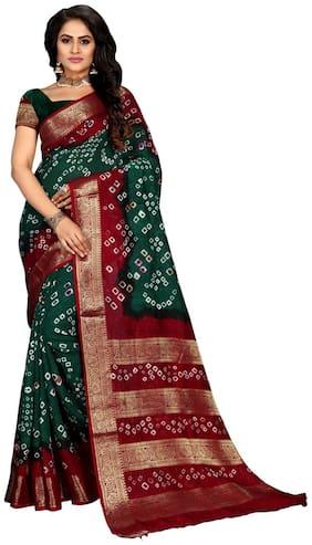 Marabout Women Bandhani Silk saree with blouse Piece Green