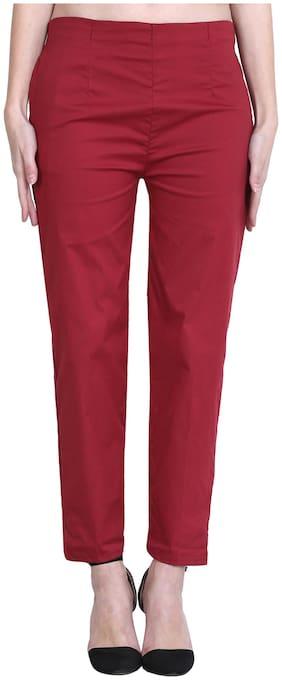 Marami Women Regular fit Mid rise Solid Cigarette pants - Maroon