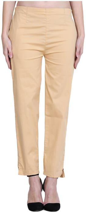 Marami Women Regular fit Mid rise Solid Cigarette pants - Beige