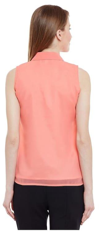 Loire Style Peach Down Marc Collar Shirt Solid Button Womens Hx6qd8