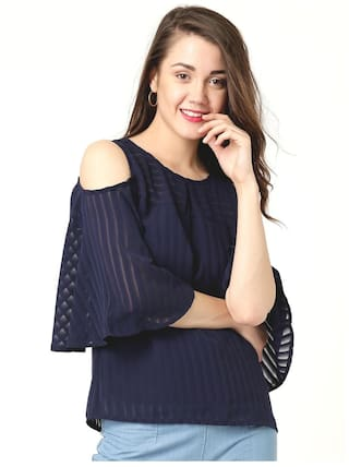 Marie Claire Women Polyester Solid - Regular Top Blue