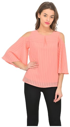 1dfde1a3a7f9a4 Marie Claire Women Polyester Solid - Regular Top Pink