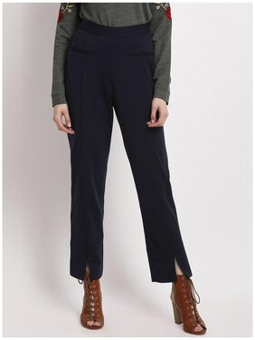 Marie Claire Women Regular Fit High Rise Solid Pants - Blue