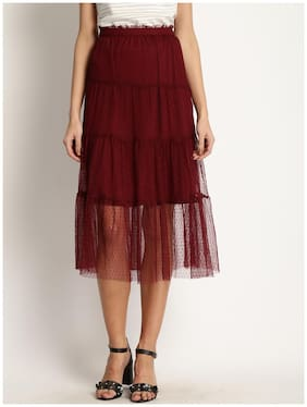 Marie Claire Printed A-line Skirt Maxi Skirt - Maroon