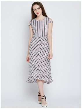 Marie Claire Women White & Blue Striped A-Line Dress