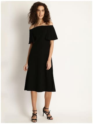 Marie Claire Women Black Solid Off-Shoulder Dress