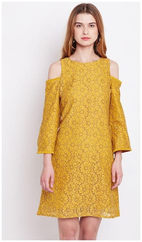 Marie Claire Women Yellow Printed A-Line Dress