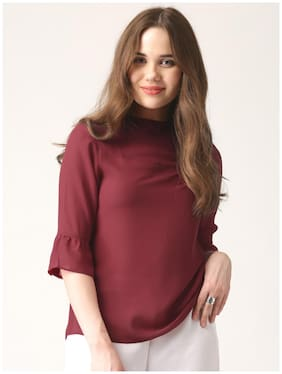 Marie Claire Maroon Solid Top